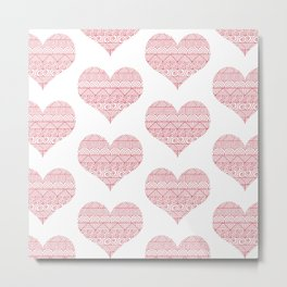 Patterned Hearts Pattern Metal Print