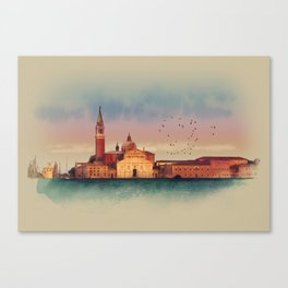 Soft watercolor sunset with views of San Giorgio island, Venice, Italy. Canvas Print