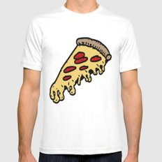 pizza MEDIUM Mens Fitted Tee White