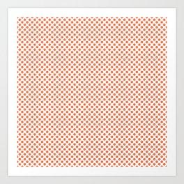 Coral Rose Polka Dots Art Print