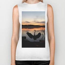 Heron Watercolor Biker Tank