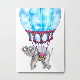 Hot Air Balloon Elephant Metal Print