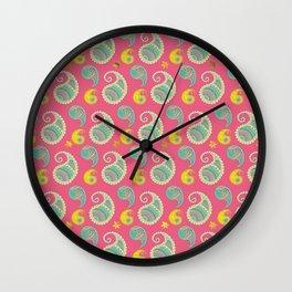 Pastel Pink and teal Boho Paisley pattern Wall Clock