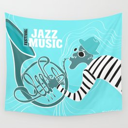 Turquoise Jazz Music Festival Wall Tapestry