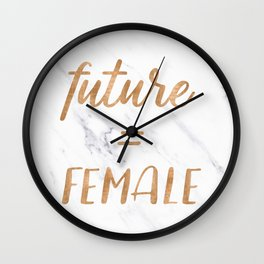 The Future is Female Copper Bronze Gold on Marble Wall Clock
