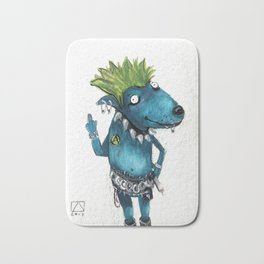 Punk blue dog Bath Mat