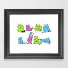 Fluro Cats Framed Art Print