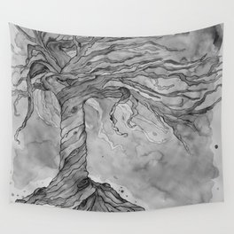 Tree of Life (Grey Scale) Wall Tapestry