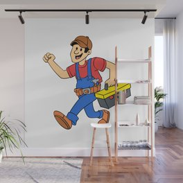 Happy running handyman cartoon illustration Wall Mural