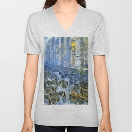 Classical Masterpiece Fifth Avenue In Winter by Frederick Childe Hassam Unisex V-Neck