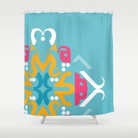 arabic Shower Curtains featuring Blue Arabic by Farah Saheb