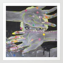 Painted Fingers, Geometric Portrait Art Print