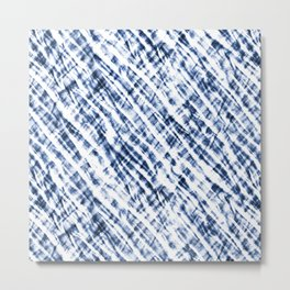 Tie Dye Criss-Cross Design in Indigo Blue and White Metal Print