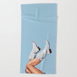 These Boots - Glitter Blue Beach Towel