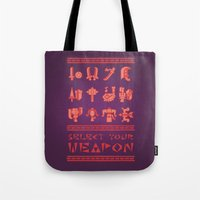 monster hunter Tote Bags featuring Monster Hunter: Select Your Weapon by KEITHXIII