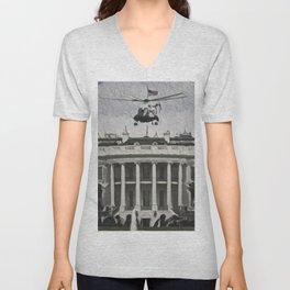 Usa White House Artistic Illustration Guernica Style Unisex V-Neck