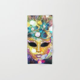Golden Carnival Mask Hand & Bath Towel