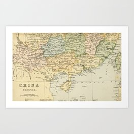 Vintage Map of The South Of China Art Print