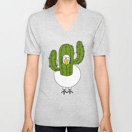 Eglantine la poule (the hen) dressed up as a cactus Unisex V-Neck