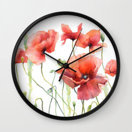 Spring Poppies Papaver Meadow Red Poppies White and Red Watercolor Wall Clock