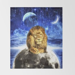 Grumpy Lion Throw Blanket