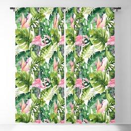 Flamingo Tropical, Colorful Tropical Jungle Monstera Painting, Watercolor Birds Banana Leaves Blackout Curtain