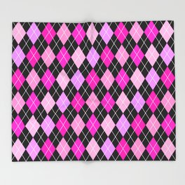 Pink Lavender Black Argyle Throw Blanket