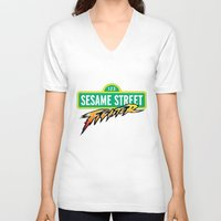 sesame street V-neck T-shirts featuring Sesame Street Fighter by Franz24