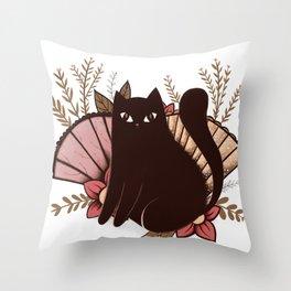 Japanese Kitty Throw Pillow