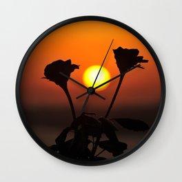 Romantic Rose Sunset Wall Clock