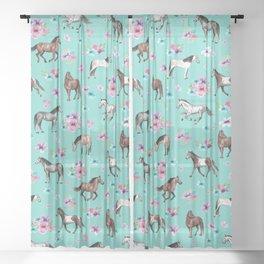 Hand drawn horses, Flower horses, Floral Pattern, Aqua Blue Sheer Curtain