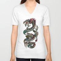 dragon V-neck T-shirts featuring dragon by Erdogan Ulker