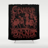 band Shower Curtains featuring Genuine Band by Justyna Dorsz