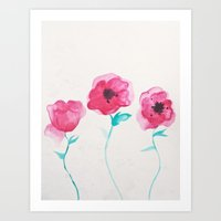 asian Art Prints featuring Asian Poppies by DuckyB