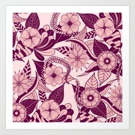 Artsy Girly Plum Pink Floral Illustration Art Art Print