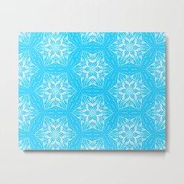 White Snowflakes stars ornament on Blue Metal Print
