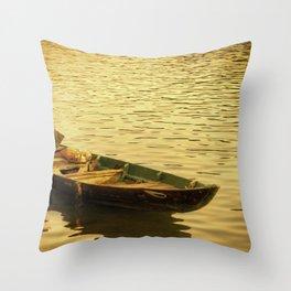 Vietnamese Boat at Sunset Throw Pillow