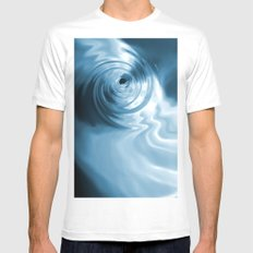 Blue Liquid Water Whirlpool Abstract Graphic MEDIUM White Mens Fitted Tee