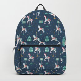 Carousel Horses in Blue Backpack