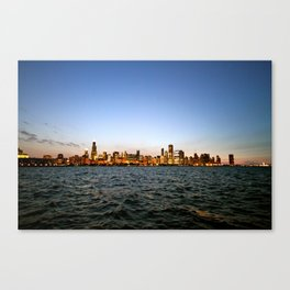 Chicago Skyline Sunset Canvas Print