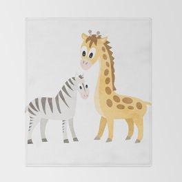 Safari Baby Zebra and Giraffe Throw Blanket