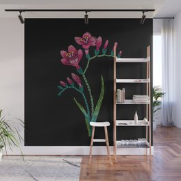 Embroidered Flowers on Black 06 Wall Mural