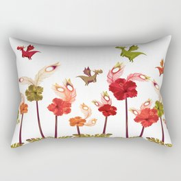 Imaginary Vintage Feather Flower Dragons Rectangular Pillow