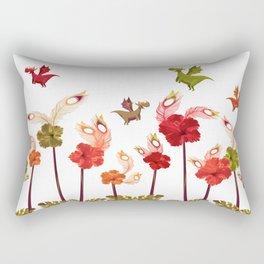 Imaginary Vintage Feather Flower Dragons Rectangular Pillow