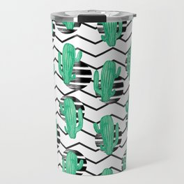 cacti + black Travel Mug