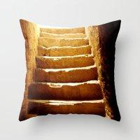mandie manzano Throw Pillows featuring Steps to tomb by Brian Raggatt