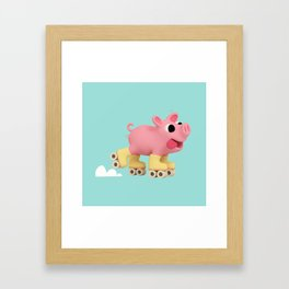 Rosa the Pig does Rollerskating Framed Art Print
