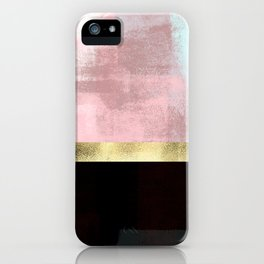 Elegant Pink Minimalism Gold Line iPhone Case