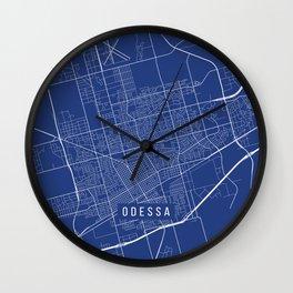 Odessa Map, USA - Blue Wall Clock