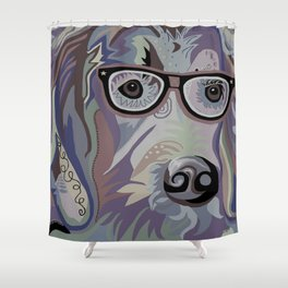 Smart Retriever Denim Tones Shower Curtain